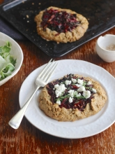 Gluten free pastry galette with beetroot, onion & feta