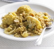 Cauliflower and chickpea pilaf